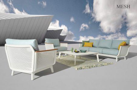 Mesh Sofa Set White 2 מוקטן